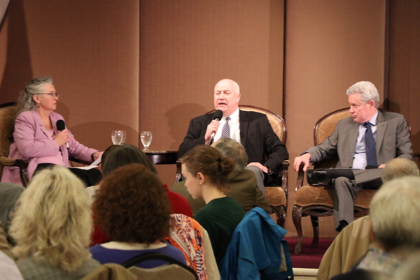 OSBA Executive Director Jim Green, flanked by moderator Betsy Hammond and consultant Tim Nesbitt, spoke Friday at the City Club of Portland on potential solutions for resolving mounting PERS bills.