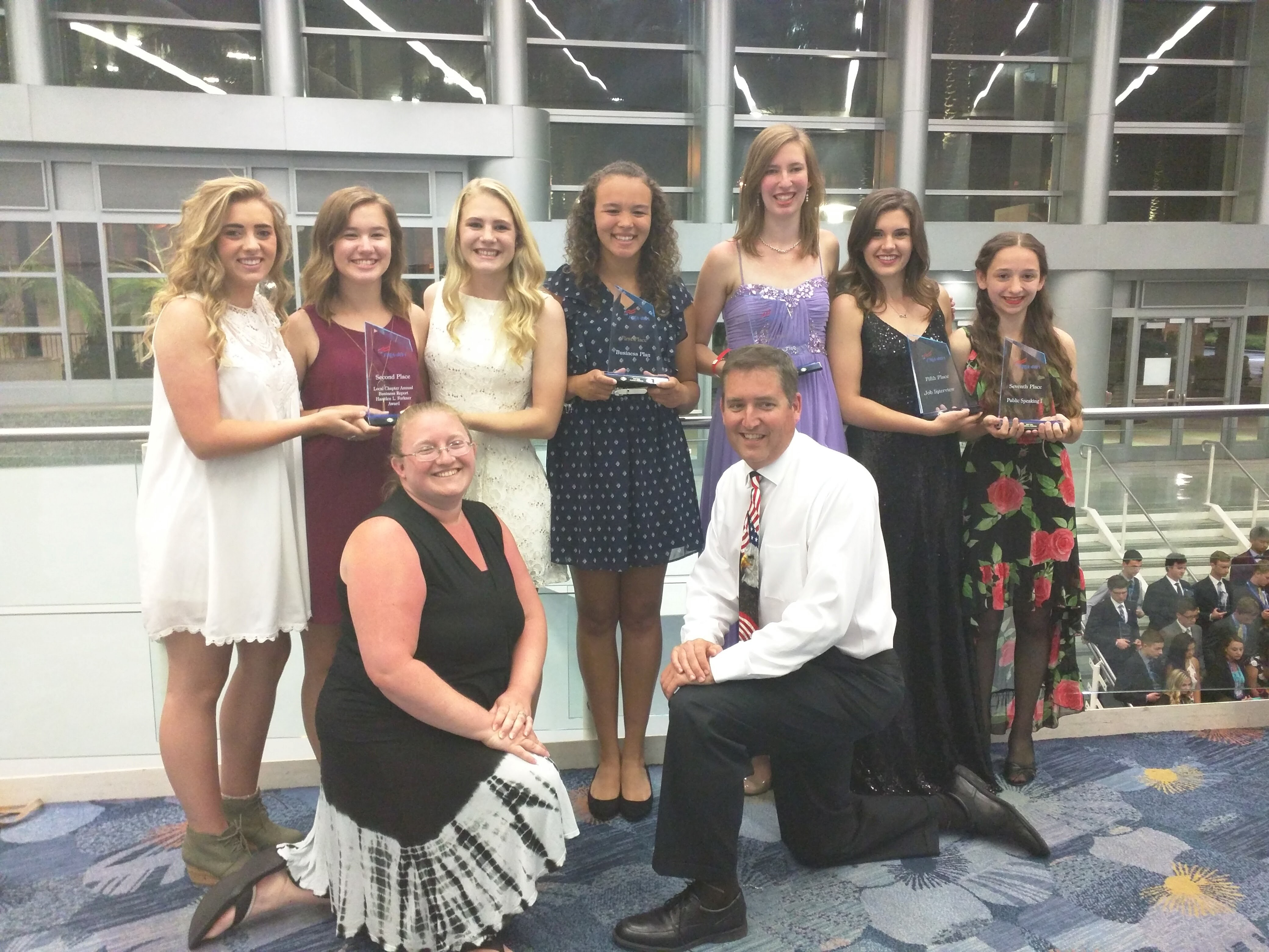 The Hidden Valley High School Future Business Leaders of America chapter placed in four events at the National Leadership Conference in Anaheim, California, with (from left) Sayge Pereria, Averie Richter, Madison O'Brien, Jeydawn Coates, Sylvia Marr, Kali Henderson and Jasmine Williams taking home honors. Advisers Ashlee Griffith and Chris Pendleton (kneeling front) traveled with the teens.
