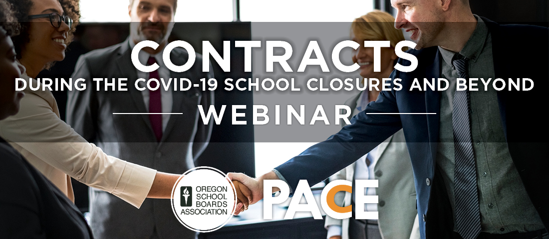 "Image of two people shaking hands with others behind them, behind the test ""contracts during school closures and beyond"" with OSBA and PACE logo"
