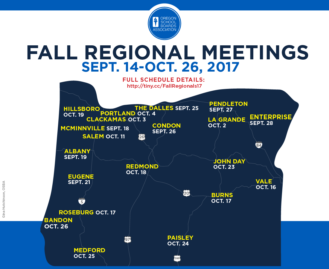 Map of Fall Regional Meeting locations