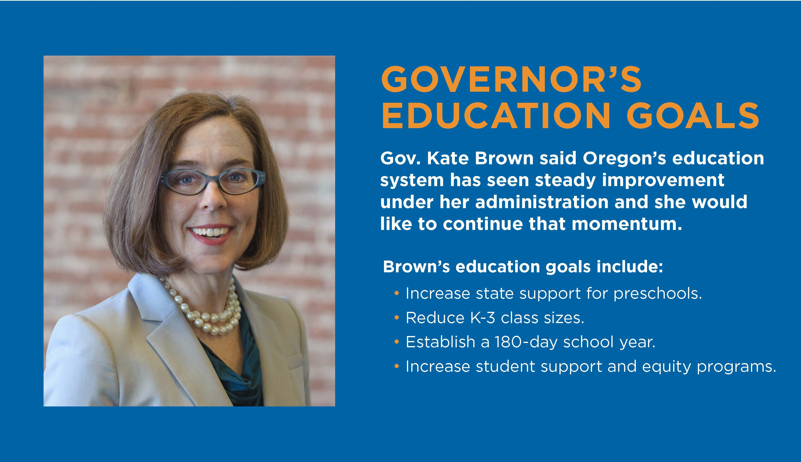 Photo of Kate Brown with her education goals listed