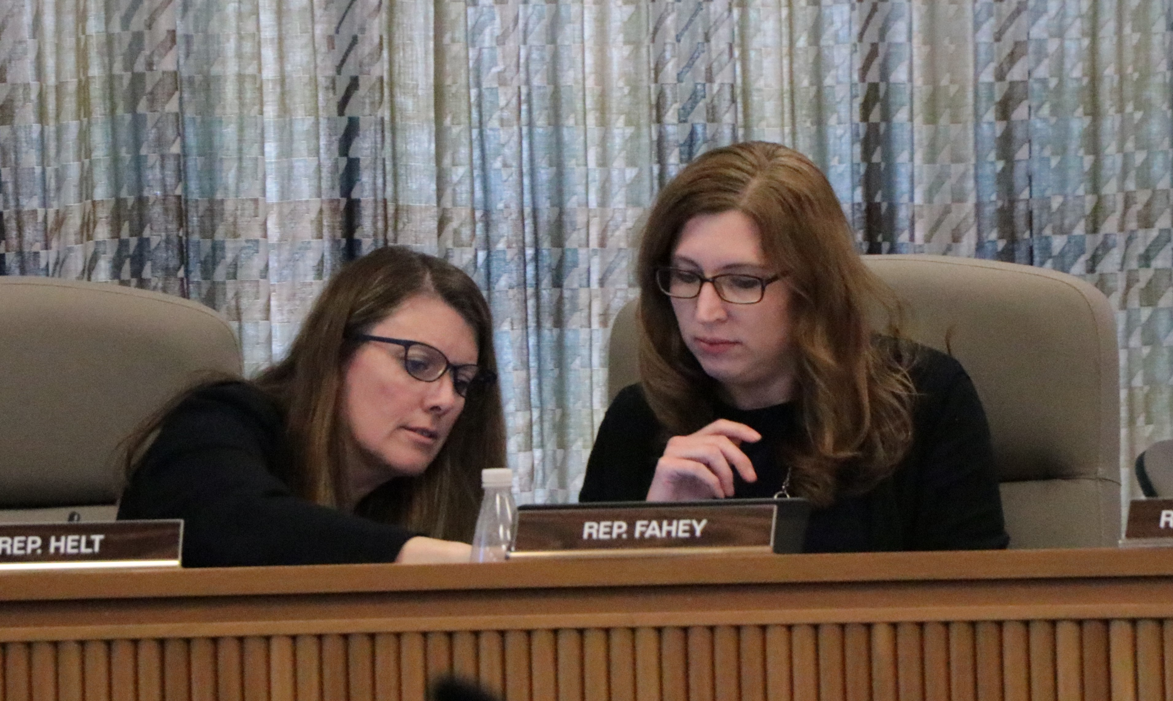 Rep. Cheri Helt, R-Bend, confers with Rep. Julie Fahey, D-Eugene, during Thursday night's Joint Committee on Student Success hearing. Helt drew on her school board experience to discuss the district-level repercussions of the committee's funding decisions. (Photo by Jake Arnold, OSBA)