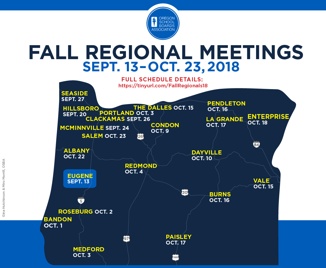 Map with locations of Fall Regional Meetings