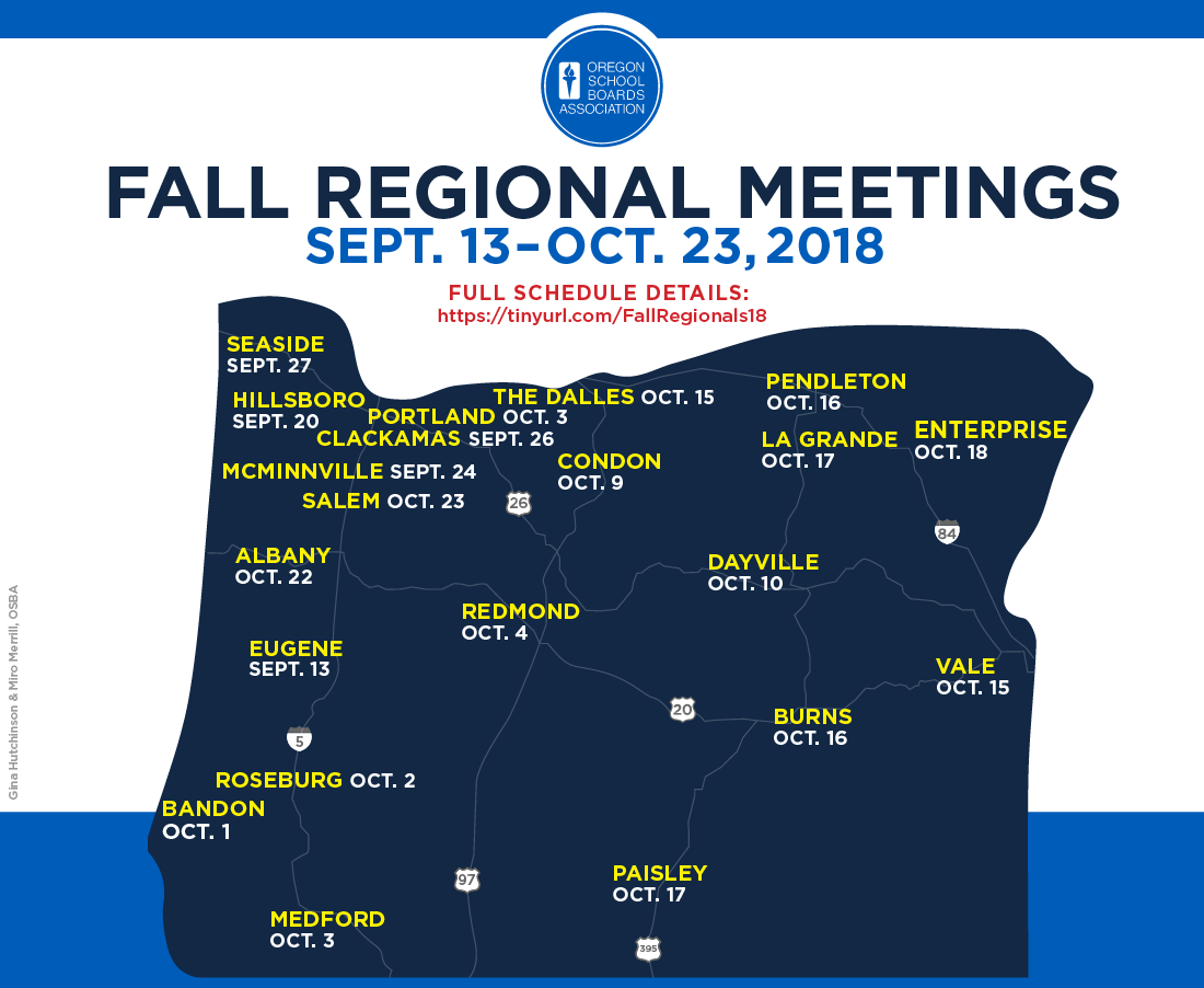 Map of Oregon with Fall Regional meeting locations and dates