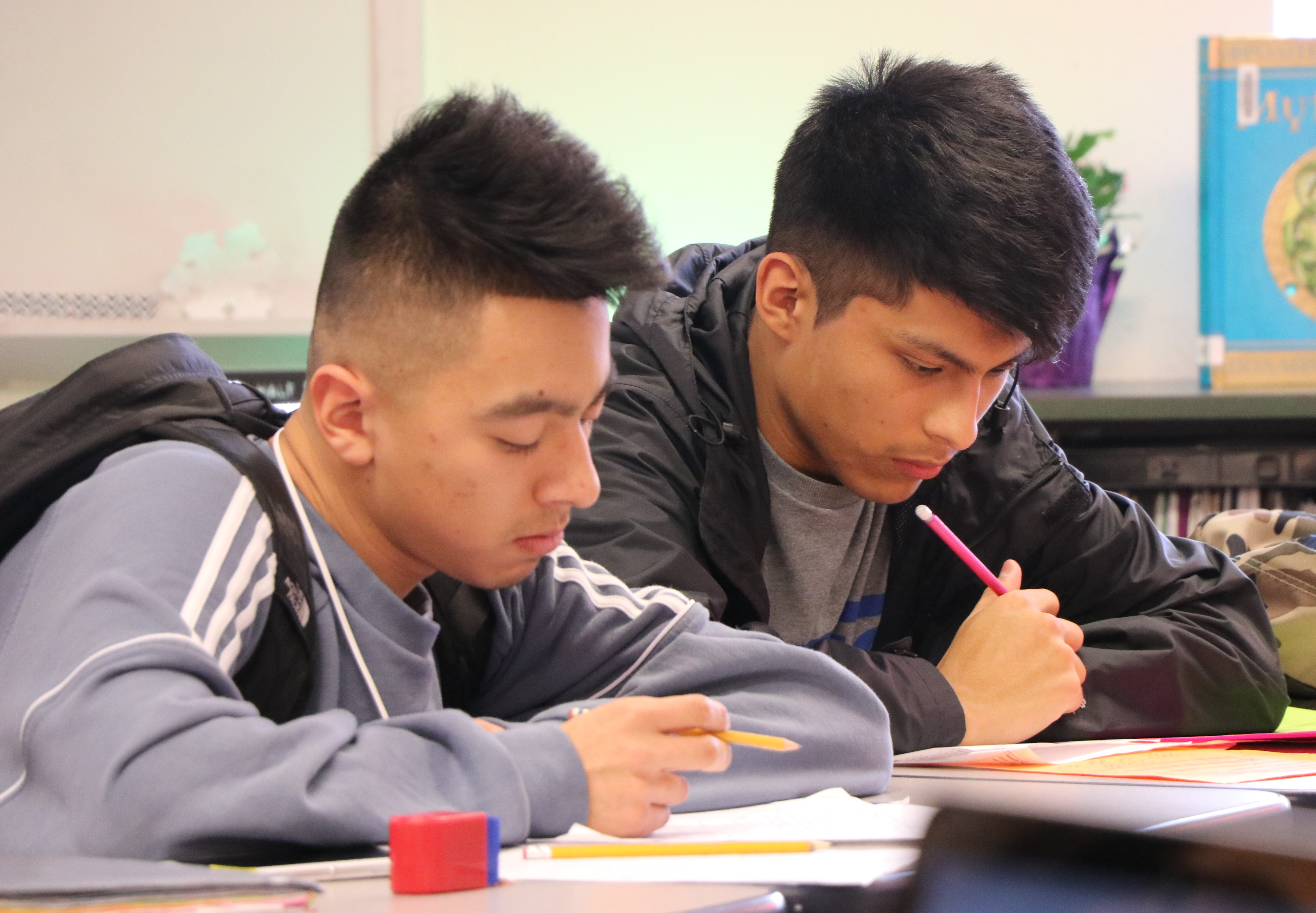 Photo of Woodburn Academy of International Studies seniors Estefan Cervantes and Jorge Perez
