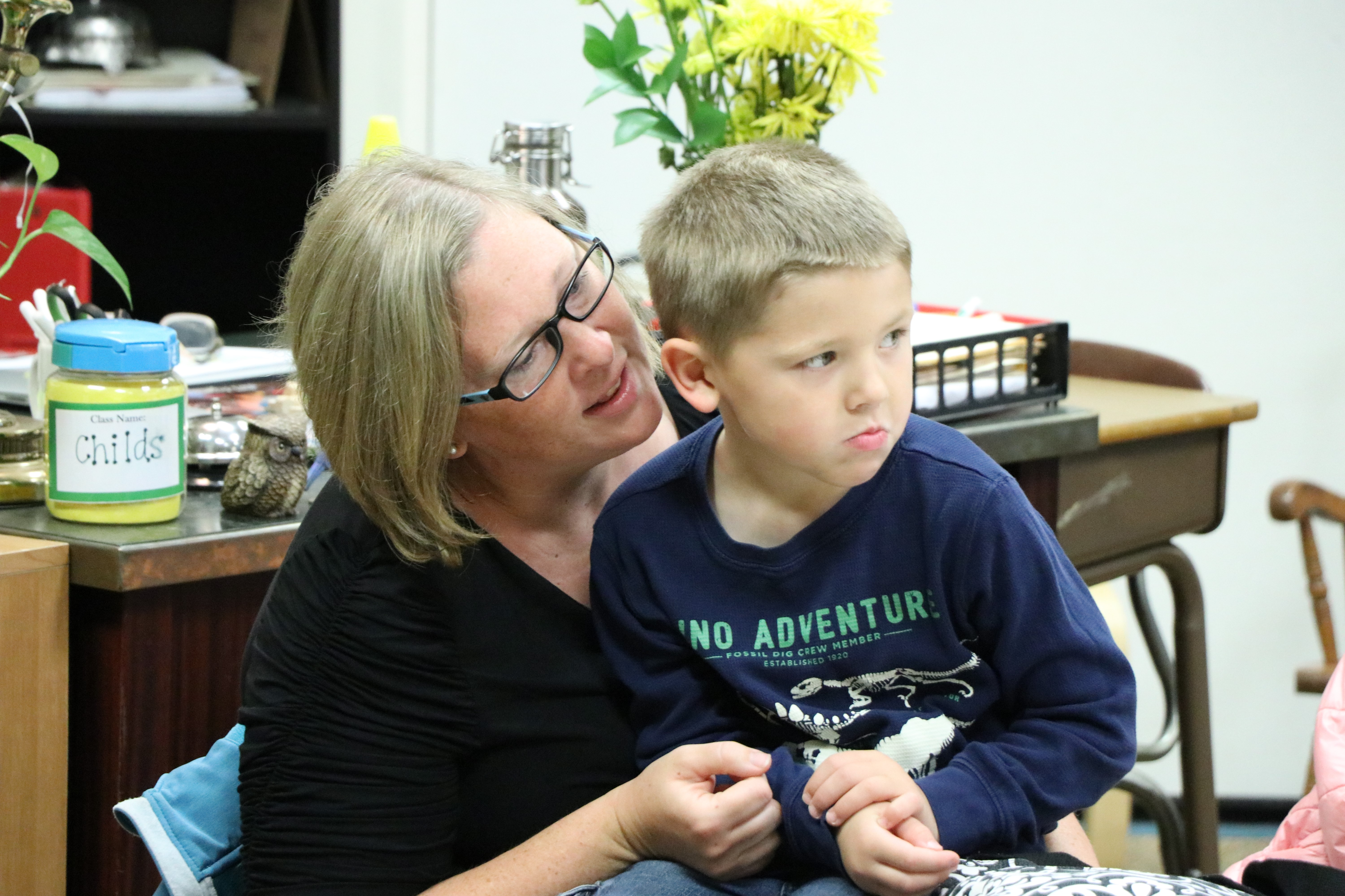 Joy Friedel is helping her son James get used to kindergarten Monday,