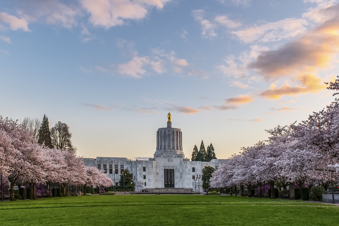 oregon capitol sunset