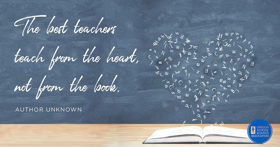 The best teachers teach from the heart, not from the book Graphic