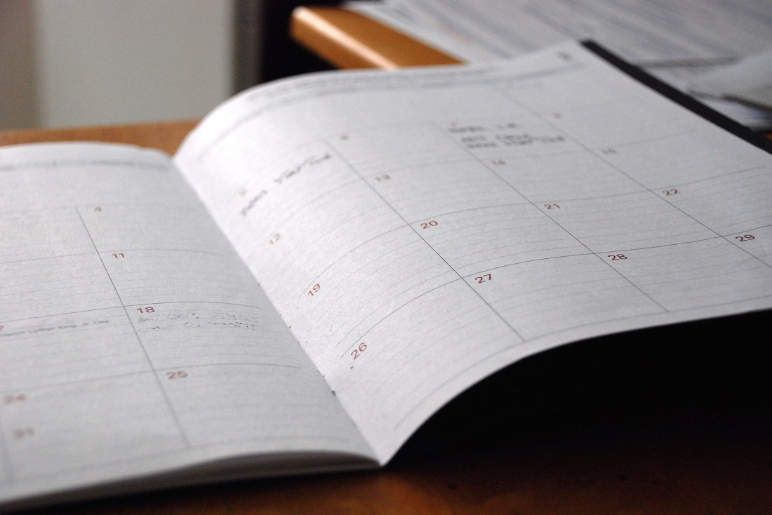 a calendar opened on a desk